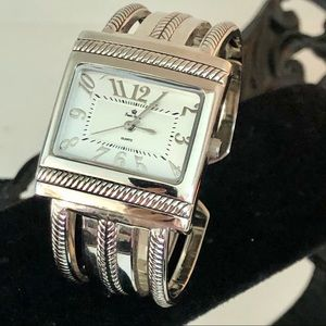 Premier Designs Silver Plated Hinged Cuff Watch